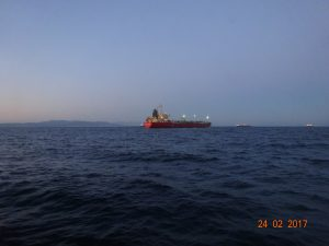 Underwater hull cleaning, propeller polishing, in water class survey of M/T Mount Olympus